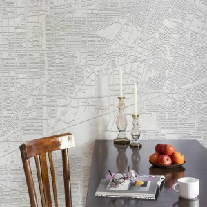 Mural Urban Map White