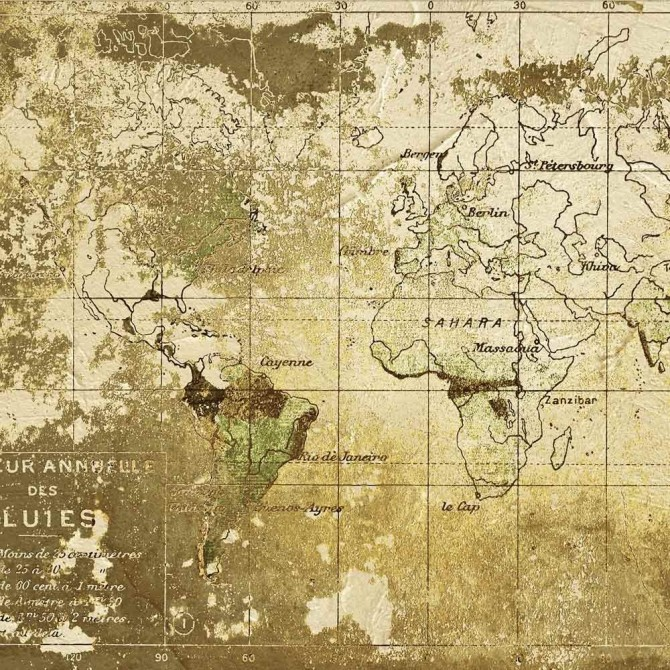 Mural Old Map Gold