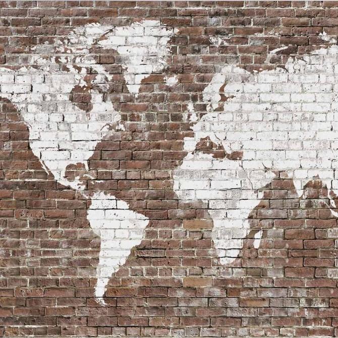 Mural Old Map Brick