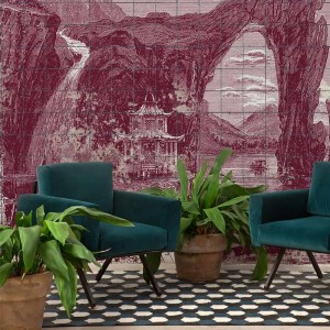 Mural Illustration Tiles Wine